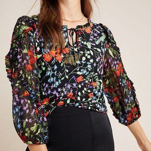 NWT Anthropologie Jacquin Floral Peasant Blouse